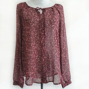 Old Navy Wine/Blush Floral Print Sheer Blouse